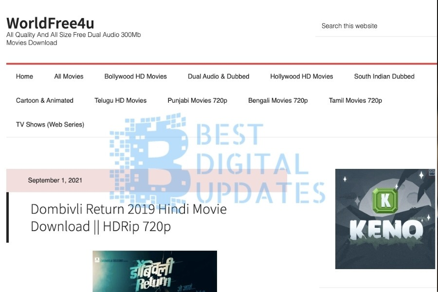 Worldfree4u trade in 2021: Download and Enjoy Free Bollywood, Hollywood Movies