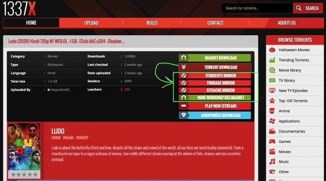 1337x torrent download options